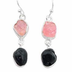 10.76cts natural tourmaline raw rose quartz raw 925 silver earrings t21142