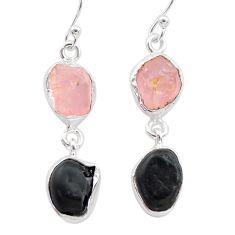 11.57cts natural tourmaline raw rose quartz raw 925 silver earrings t21145