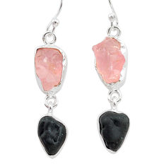 10.65cts natural tourmaline raw rose quartz raw 925 silver earrings t21146
