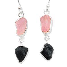 12.58cts natural tourmaline raw rose quartz raw 925 silver earrings t21147