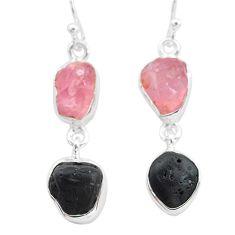 12.10cts natural tourmaline raw rose quartz raw 925 silver earrings t21149