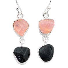 12.58cts natural tourmaline raw rose quartz raw 925 silver earrings t21151