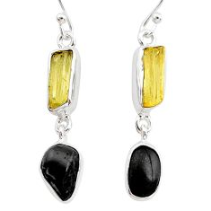 9.33cts natural tourmaline raw scapolite 925 silver dangle earrings t21138