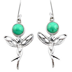6.01cts natural turquoise tibetan 925 silver angel wings fairy earrings d40528