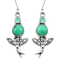 7.36cts natural turquoise tibetan 925 silver angel wings fairy earrings d40529