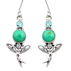 7.58cts natural turquoise tibetan 925 silver angel wings fairy earrings d40531