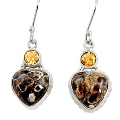 Clearance Sale- 18.10cts natural turritella fossil snail agate 925 silver heart earrings d39525