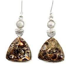 Clearance Sale- 19.29cts natural turritella fossil snail agate 925 silver heart earrings d39530