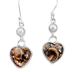 Clearance Sale- 16.86cts natural turritella fossil snail agate 925 silver heart earrings d39531