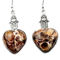 Natural turritella fossil snail agate silver hand of god heart earrings r46837