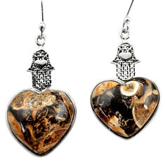 Natural turritella fossil snail agate silver hand of god heart earrings r46838