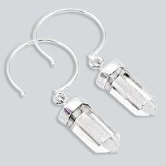 9.55cts natural white crystal pointer 925 sterling silver dangle earrings r88965