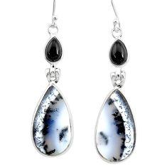 17.35cts natural white dendrite opal (merlinite) onyx 925 silver earrings r86686
