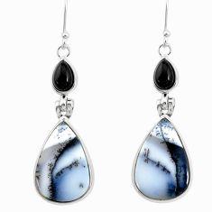 16.68cts natural white dendrite opal (merlinite) onyx 925 silver earrings r86689