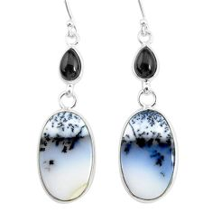 17.96cts natural white dendrite opal (merlinite) onyx 925 silver earrings r86690