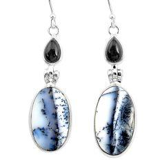 16.68cts natural white dendrite opal (merlinite) onyx 925 silver earrings r86693