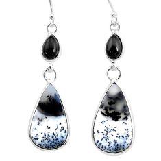 15.34cts natural white dendrite opal (merlinite) onyx 925 silver earrings r86694