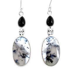 18.39cts natural white dendrite opal (merlinite) onyx 925 silver earrings r86698