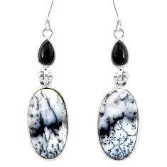 19.09cts natural white dendrite opal (merlinite) silver dangle earrings r86708