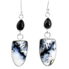 14.91cts natural white dendrite opal (merlinite) silver dangle earrings r86717