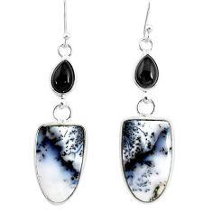 14.91cts natural white dendrite opal (merlinite) silver dangle earrings r86717