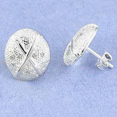 Natural white diamond 925 sterling silver stud earrings jewelry c20671