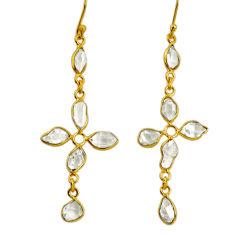 8.86cts natural white herkimer diamond 925 silver 14k gold cross earrings r64182