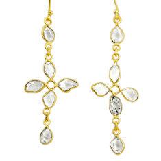 8.69cts natural white herkimer diamond 925 silver 14k gold cross earrings r64188