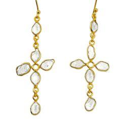 8.69cts natural white herkimer diamond 925 silver 14k gold cross earrings r64189