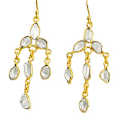 10.18cts natural white herkimer diamond 925 silver 14k gold earrings r64186