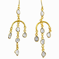12.14cts natural white herkimer diamond 925 silver 14k gold earrings r64203