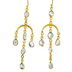 12.70cts natural white herkimer diamond 925 silver 14k gold earrings r64205
