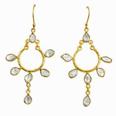 12.67cts natural white herkimer diamond 925 silver 14k gold earrings r64206