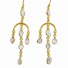 13.13cts natural white herkimer diamond 925 silver 14k gold earrings r64208