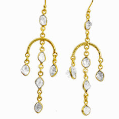 12.62cts natural white herkimer diamond 925 silver 14k gold earrings r64212