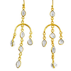 13.18cts natural white herkimer diamond 925 silver 14k gold earrings r64217