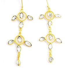 13.15cts natural white herkimer diamond 14k gold handmade earrings r73018