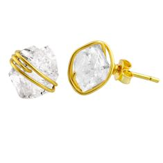 8.29cts natural white herkimer diamond 925 silver 14k gold stud earrings r65890