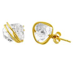8.90cts natural white herkimer diamond 925 silver 14k gold stud earrings r65891