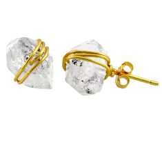 10.70cts natural white herkimer diamond 925 silver 14k gold stud earrings r65899