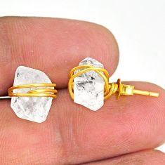 8.79cts natural white herkimer diamond 14k gold handmade stud earrings r76826