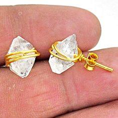 8.76cts natural white herkimer diamond 14k gold stud earrings t6481