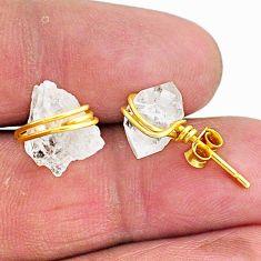 7.74cts natural white herkimer diamond 14k gold stud earrings t6482