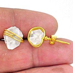 8.76cts natural white herkimer diamond 14k gold stud earrings t6483