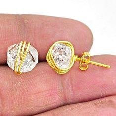6.99cts natural white herkimer diamond 14k gold stud earrings t6485