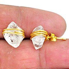 8.32cts natural white herkimer diamond 14k gold stud earrings t6486