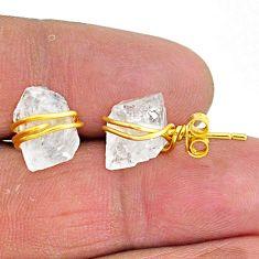 8.76cts natural white herkimer diamond 14k gold handmade stud earrings t6488