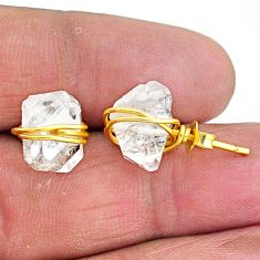 7.80cts natural white herkimer diamond 14k gold handmade stud earrings t6489