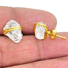 8.38cts natural white herkimer diamond 14k gold stud earrings t6547