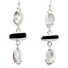 14.70cts natural white herkimer diamond 925 silver dangle earrings d40347